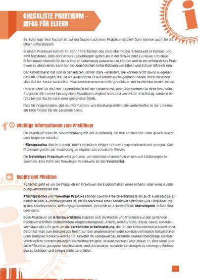 Vorschaubild Checkliste Praktikum für Eltern
