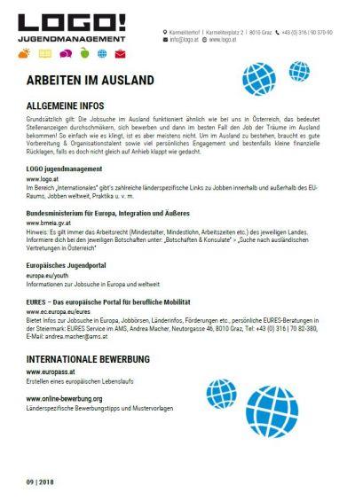 Vorschaubild Infoblatt Arbeiten im Ausland