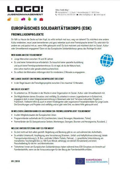 Vorschaubild Infoblatt Europäisches Solidaritätskorps