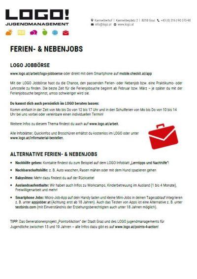 Vorschaubild Infoblatt Ferial- und Nebenjobs
