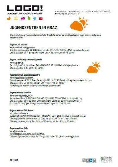 Vorschaubild Infoblatt Jugendzentren in Graz