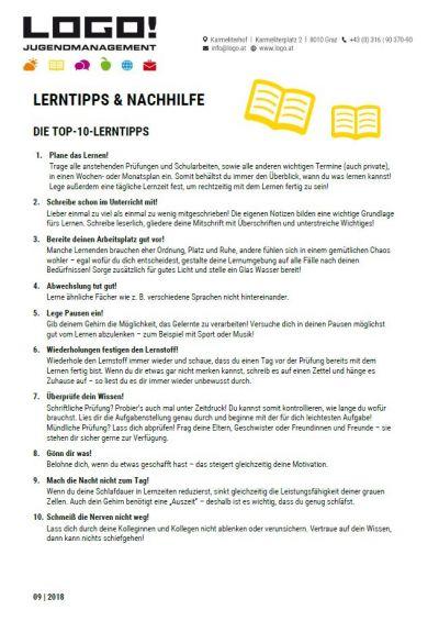 Vorschaubild Infoblatt Lerntipps und Nachhilfe