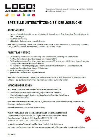 Vorschaubild Infoblatt Spezielle Unterstützung bei der Jobsuche