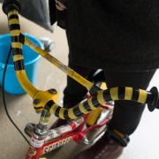 Ausschnitt eines Fahrrades, Gelenksstange