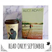 Bild von Buchcover von Alice Adams und Coffee-to-go- Becher mit Schriftzug Hey Dude!