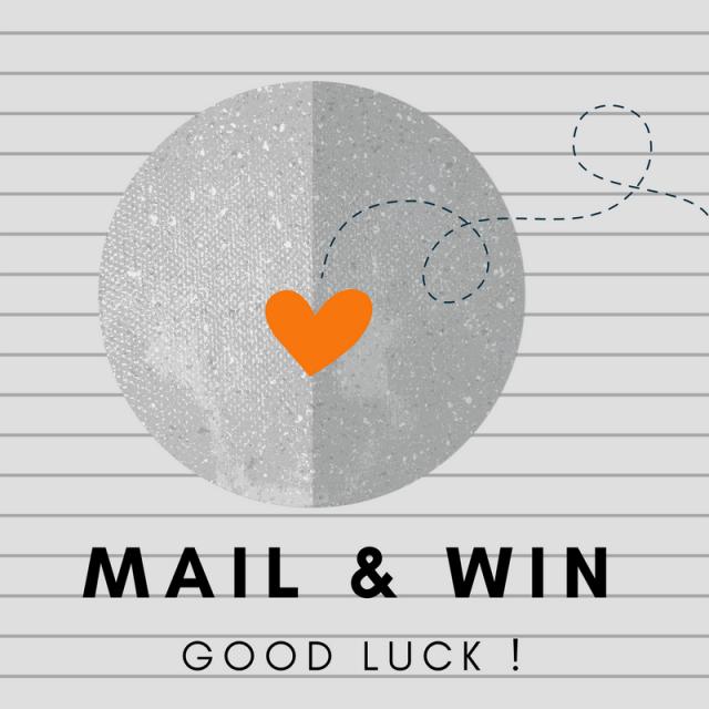 Bild mit Herz auf liniertem Hintergrund und Schriftzug Mail & Win