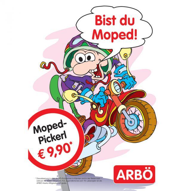 Zeichnung eines Burschen auf einem Moped, ARBÖ Logo