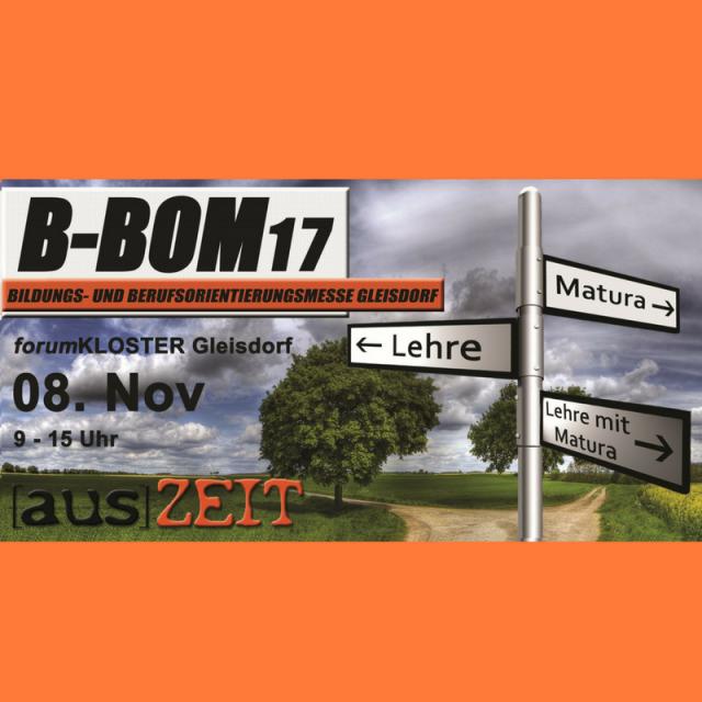 Plakat der Bildungsmesse B-BOM in Gleisdorf