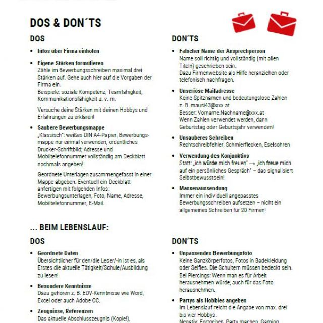 Vorschaubild Infoblatt Do's and Don'ts