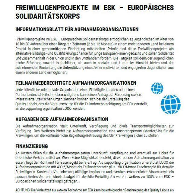 Vorschaubild Infoblatt ESK für Aufnahmeorganisationen