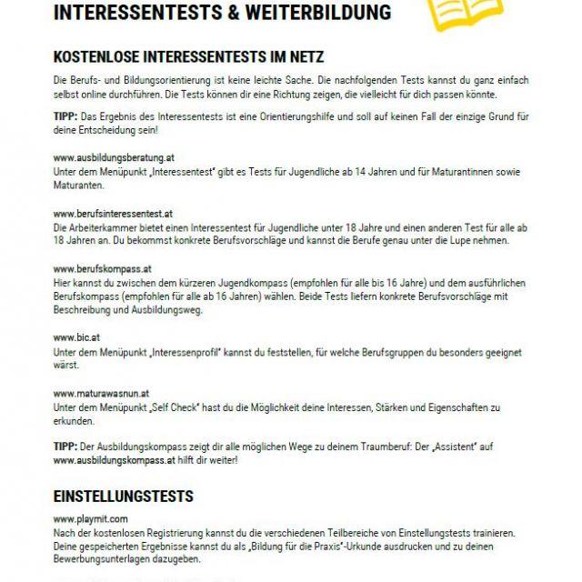 Vorschaubild Interessentests und Weiterbildung