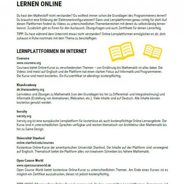 Vorschaubild Infoblatt Lernen Online