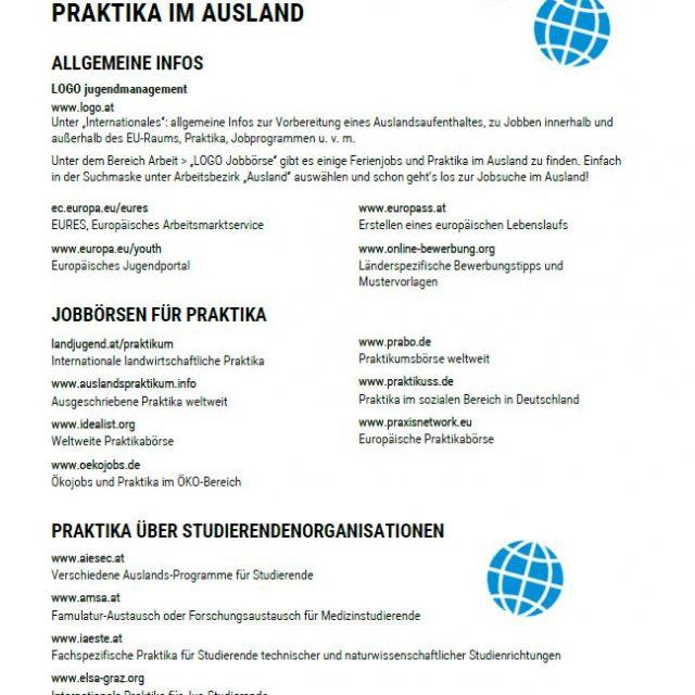 Vorschaubild Infoblatt Praktika im Ausland
