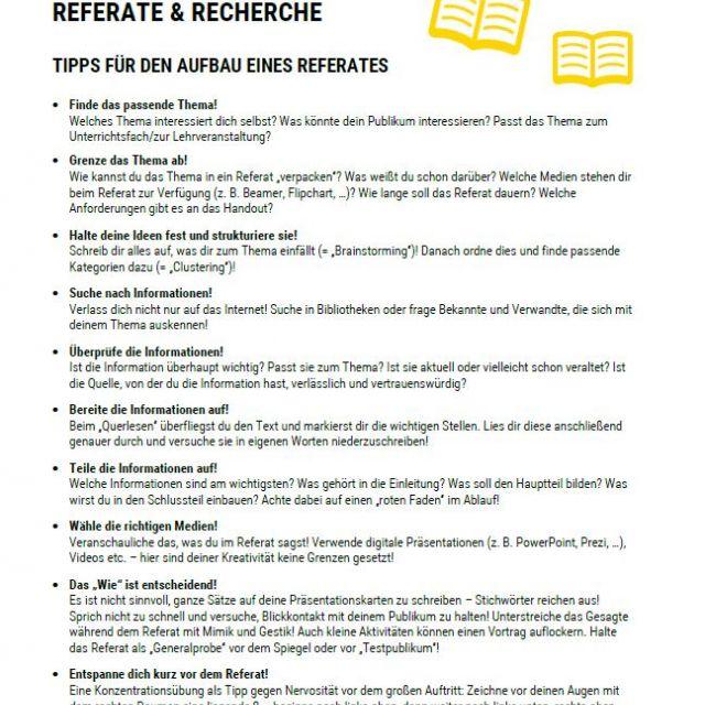 Vorschaubild Infoblatt Referate und Recherche