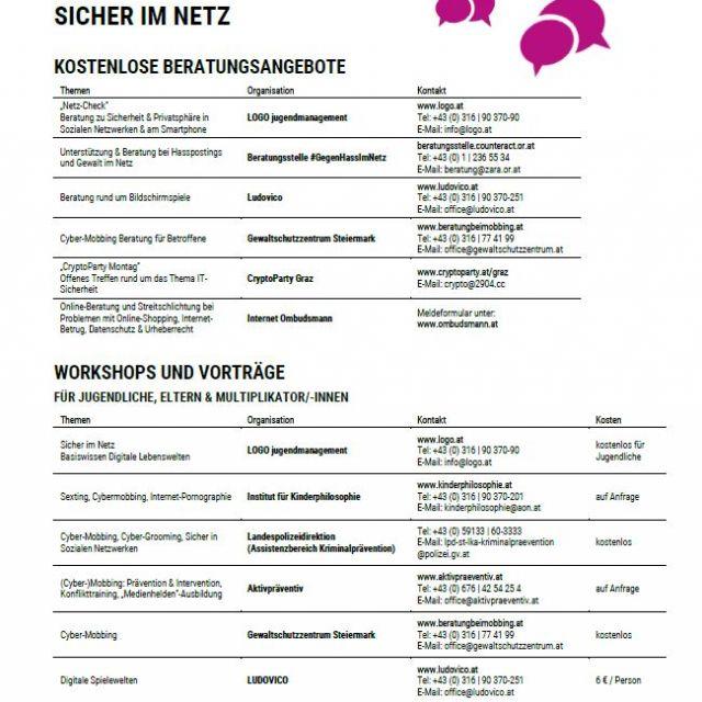 Vorschaubild Infoblatt Sicher im Netz Angebote