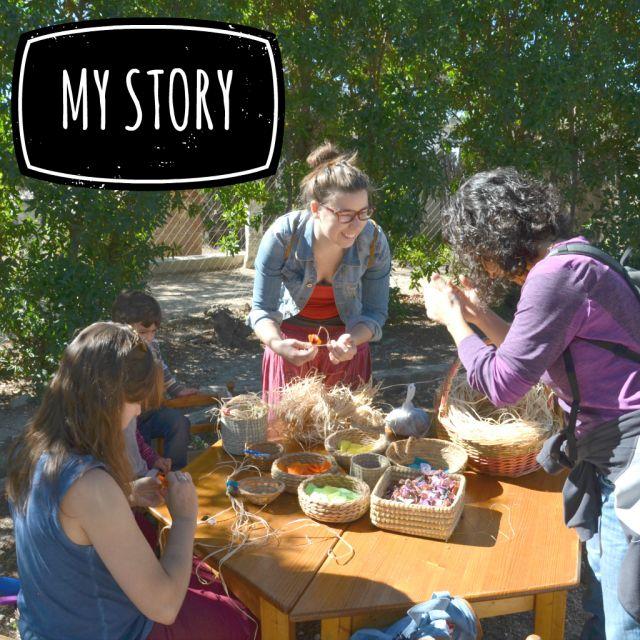 Tisch, Natur, drei junge Frauen