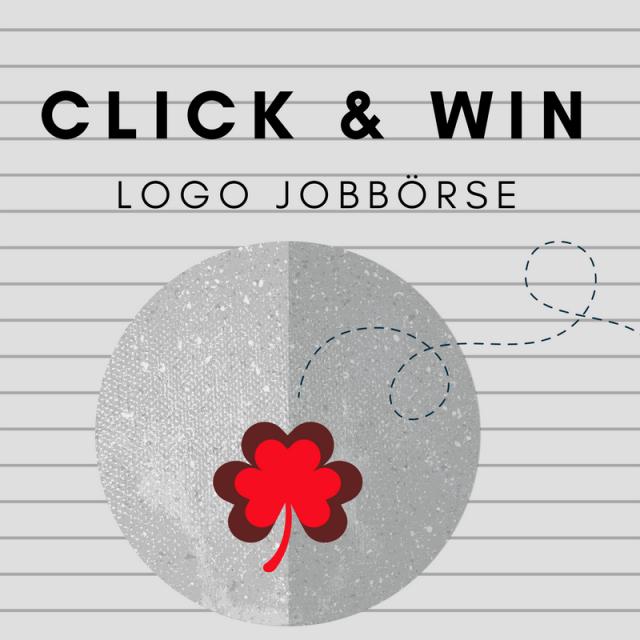 Schriftzug Click and Win LOGO Jobbörse auf grauem HIntergrund und rotem Kleeblatt
