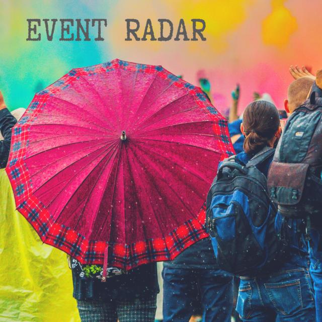 Mädel mit rotem Schirm, daneben steht ein junger Mann und filmt mit einer Handykamera, darüber ist der Schriftzug Event-Radar zu sehen