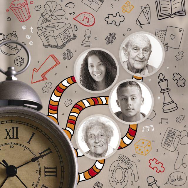 Uhr mit Fangarmen an denen ein Senior, eine Seniorin, ein Jugendlicher und eine Jugendliche baumeln, im Hintergrund sind verschiedene Grafiken zu sehen