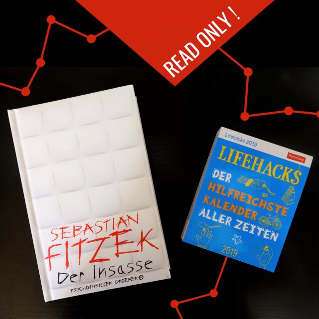 Buchcover von Sebastian Fitzek: Der Insasse plus Kalender für Lifehacks für das Jahr 2019