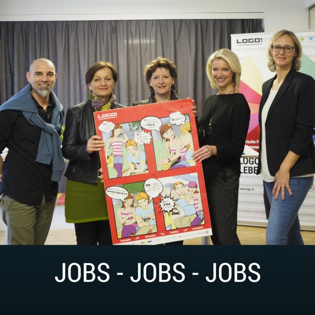 Pressefoto LOGO Jobbörse mit Gregor Fasching, Susanne Haluzan, Landesrätin Ursula Lackner, Alexandra Hörmann und Uschi Theissl
