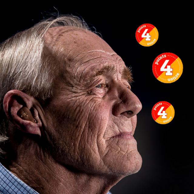 Gesicht eines alten Mannes im Profil, vor ihm Points die in der Luft schweben