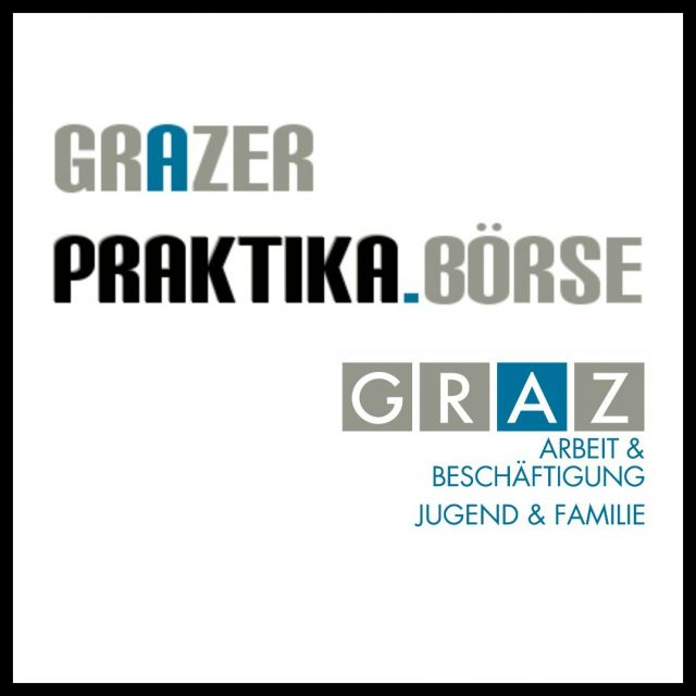 Logo Grazer Praktika Börse in Schwarz Blau und der Stadt Graz